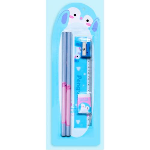 """Набор детский """"Пингвиненок"""" 5пр (карандаш простой-2/линейка/точилка/ластик)"""
