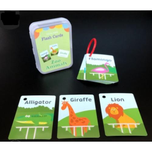 """Обучающие карточки по английскому """"Животные в зоопарке"""", 62*88мм в пластик.кор."""