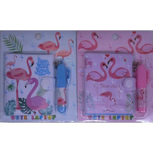"""Набор """"Фламинго"""": блокнот на кнопке 8*10см, 45л+ручка-брелок"""