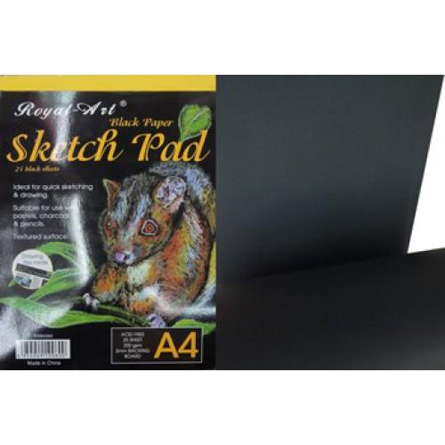 Альбом-планшет А4, 25л, черные листы, 200г/м2
