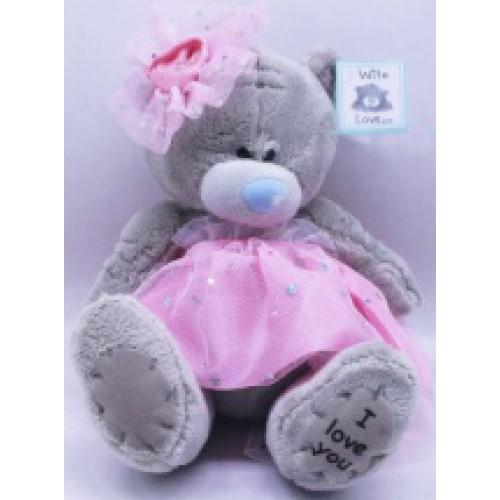 """Игрушка мягкая """"Мишка в розовом платье с бантиком"""" 17см"""