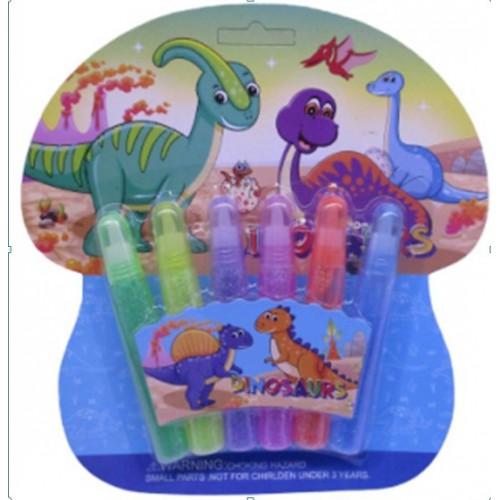"""Клей с блеском """"Динозаврики"""" 6ц*10мл"""