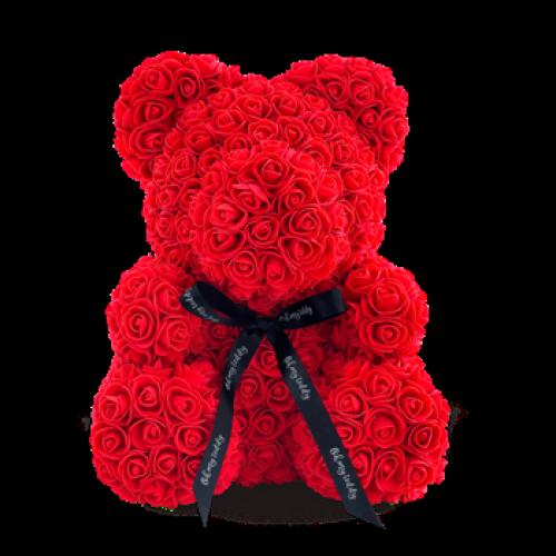 3D мишка из роз (25см), розовый/красный