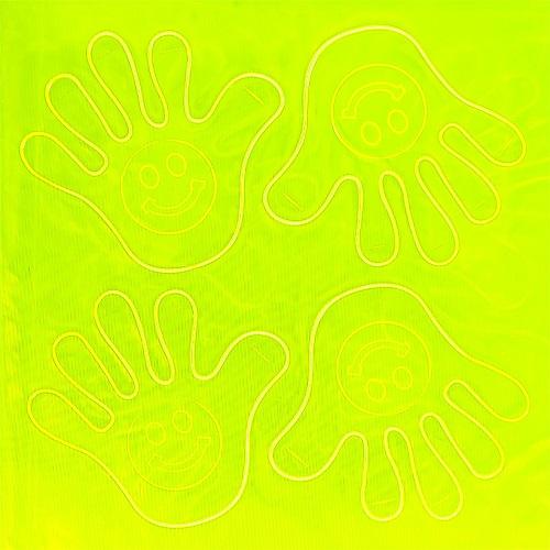 """Наклейки светоотражающие """"Рука со смайлом"""" 7см, 4шт на блистере"""