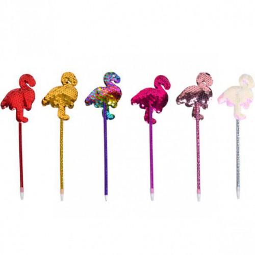 """Ручка масляная, декорирована мягкой фигуркой """"Фламинго с пайетками"""", 0,7мм, синяя"""
