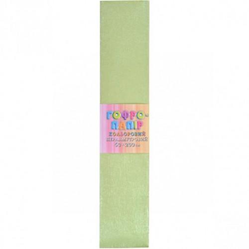 Гофрированная бумага 50*200см, ПЕРЛАМУТР зеленая, 17г/м2 20%