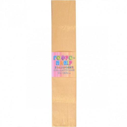 Гофрированная бумага 50*200см, ПЕРЛАМУТР желтая, 17г/м2 20%