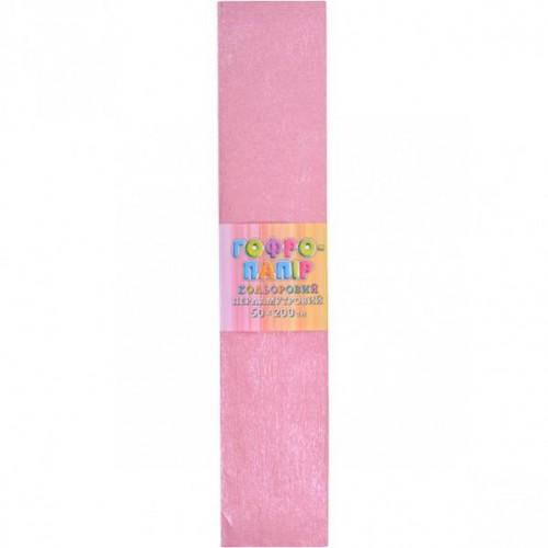 Гофрированная бумага 50*200см, ПЕРЛАМУТР розовая, 17г/м2 20%