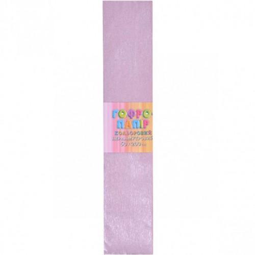 Гофрированная бумага 50*200см, ПЕРЛАМУТР фиолетовая, 17г/м2 20%