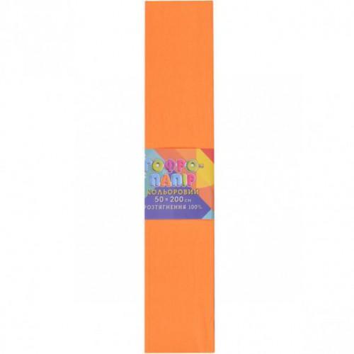 Гофрированная бумага 50*200см, светло-оранжевая, 20г/м2 100%