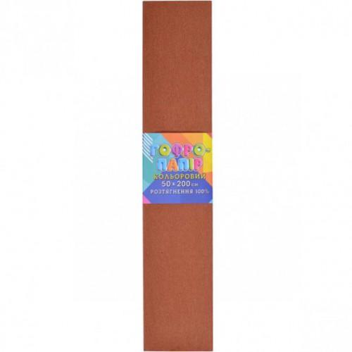 Гофрированная бумага 50*200см, светло-коричневая, 20г/м2 100%