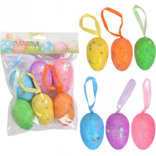 Набор Яйца декоративные 6шт глиттер с ленточкой 6см, пенопласт