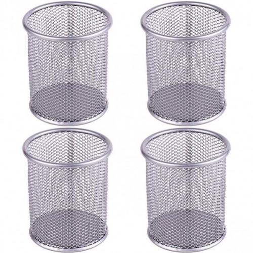 Стакан для ручек - металлическая сетка,  9,5*8,5см, серебро