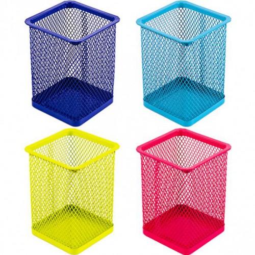 Стакан для ручек - металлическая сетка-квадрат, 8*8*9,5см, цветной