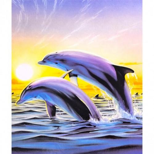 """Картина по номерам """"Пара дельфинов"""" 40*50см"""