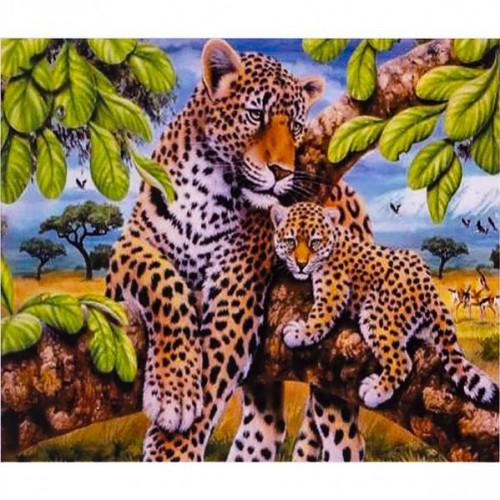 """Картина по номерам """"Леопард с детенышем"""" 40*50см"""