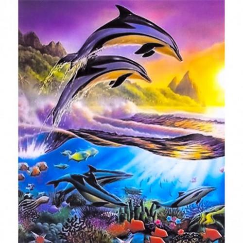 """Картина по номерам """"Над/под водой-дельфины"""" 40*50см"""