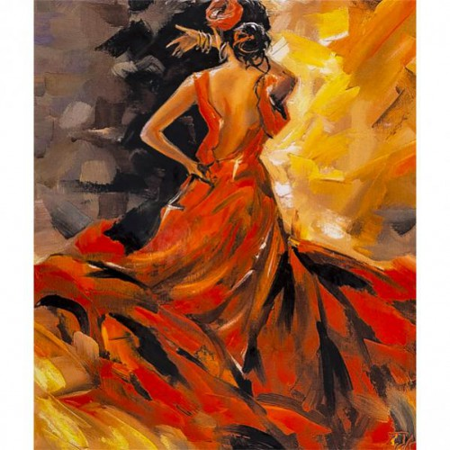 """Картина по номерам """"Девушка в красном"""" 40*50см"""