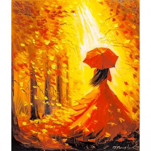 """Картина по номерам """"Осенняя - девушка под зонтом"""" 40*50см"""