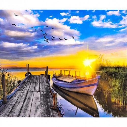 """Картина по номерам """"Пейзаж-закат, мостик, лодка"""" 40*50см"""