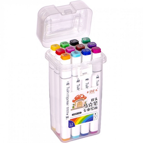 Набор скетч-маркеров 12цв пластиковом боксе