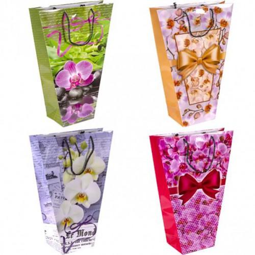 """Пакет цветной для букетов """"Орхидея"""" 37*24*10см, глянцевый, ручки шнурок"""