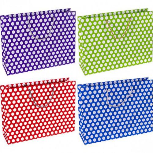 Пакет цветной большой «Горох» горизонтальный 36*25*10см, глянцевый, ручки шнурок
