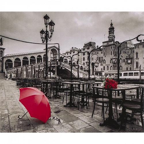 """Алмазная живопись 40*50см """"ч/б архитектура, красный зонт, красные розы"""" 9+"""