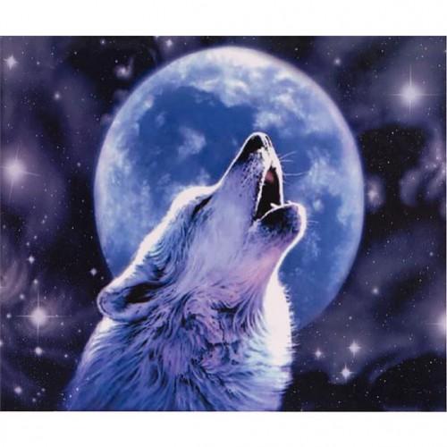 """Алмазная живопись 30*40см """"Белый волк воет на луну"""" 9+"""