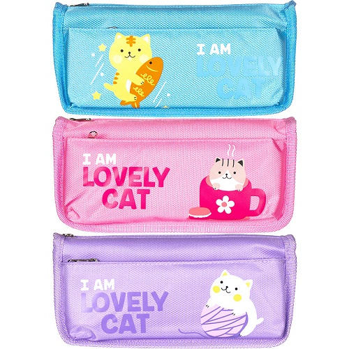 """Пенал-косметичка """"I am lovely cat"""", 2отд. на молнии, 21*10*5см"""