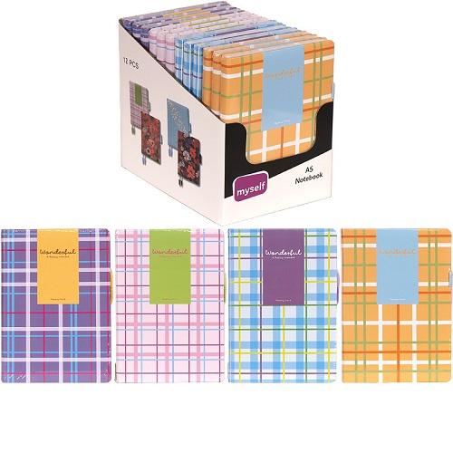 Блокнот 14,6*21см,80л, тв.переп., цвет листа белый, оформление комбинирование линия/чистый лист/точки