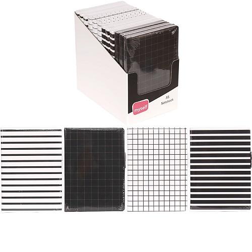 """Блокнот """"Черно-белая линия/клетка14,6*21см,160л, тв.переп. из полиуретана, цвет листа белый"""
