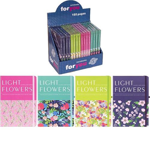 """Блокнот на резинке """"Цветы"""" А5 (14*21см),80л, клетка, тв.переп., цвет листа -белый"""