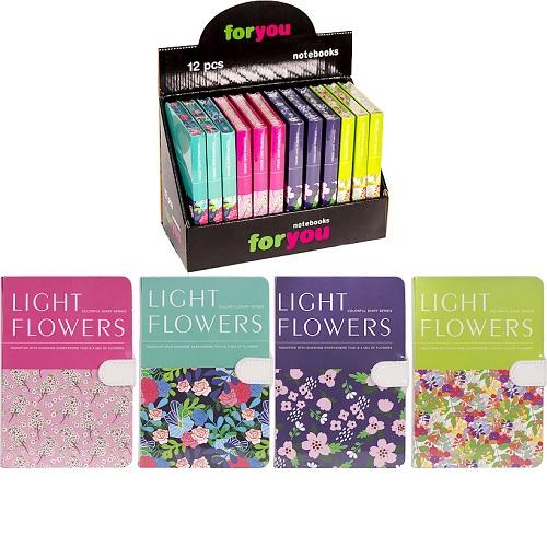 """Блокнот на магните """"Цветы"""" 12,7*19см,112л, клетка, тв.переп., цвет листа -кремовый"""