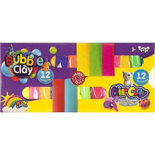 "Креативное творчество ""Air Clay+Bubble Clay"" 12 шт+12 шт укр ARBB-02-01U 3+"