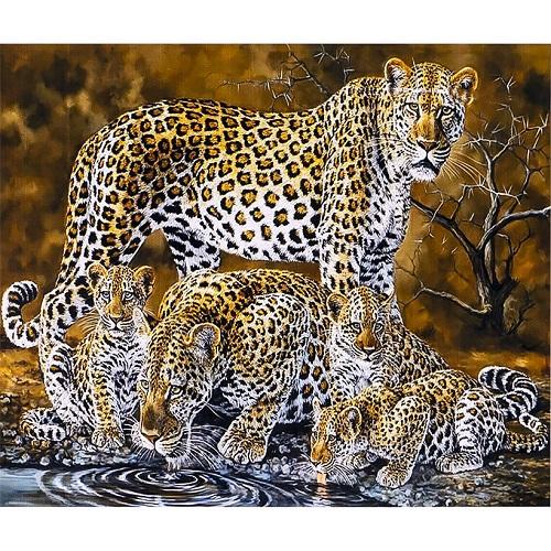 """Алмазная Живопись 30*40 """"Леопард с детенышами"""""""