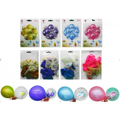 Набор латексных шаров 10шт (30cм*5шт. металлик,30см*5шт.прозр.с конфетти)