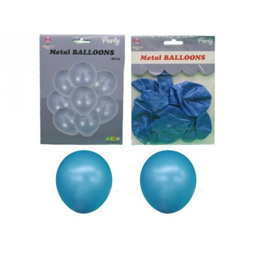 Набор латексных шаров металлик 8шт.*30см голубой