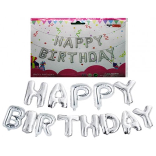 """Шары фольгированные надпись """"Happy birthday"""" 40см серебро"""