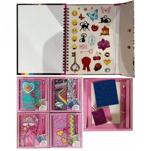 """Набор для творчества """"Мой Любимый Дневник, для девочек"""" содержит: 1 блокнот 100стр, 2 листа наклеек"""