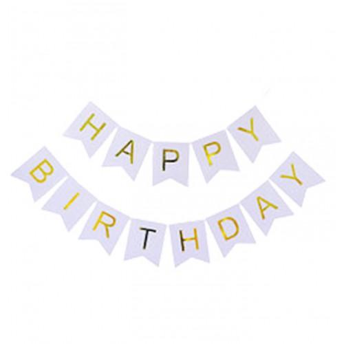 """Гирлянда-растяжка флажки """"Happy birthday"""" 12*16см-5м, серебро"""