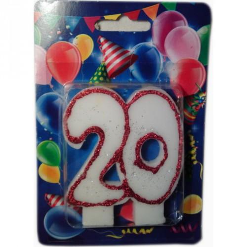 """Свеча для торта """"ЮБИЛЕЙНАЯ"""" цифра """"20"""""""