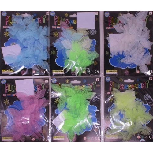 "Наклейка-декор пластик,флуоресц.""Бабочки-3D "" 6-7шт.в инд.уп."