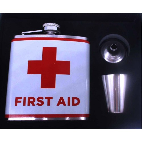 Набор First aid: Фляга нерж.сталь 180мл+рюмка+лейка