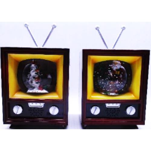 """Сувенир керамический, свет., музыкальный """"Телевизор новогодний"""" 19см"""