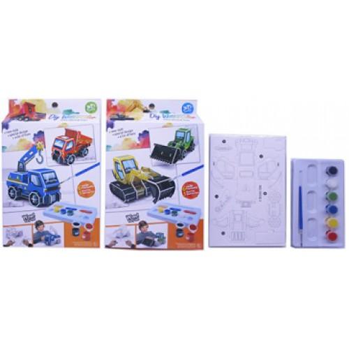 """Набор для творчества """"Собери 3D пазл-игрушку -Машины и раскрась""""+ краски 6цв+кисточка"""