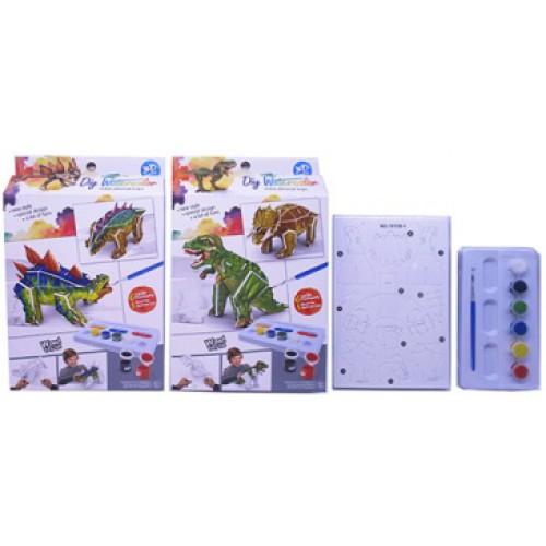 """Набор для творчества """"Собери 3D пазл-игрушку -Динозавр и раскрась""""+ краски 6цв+кисточка"""