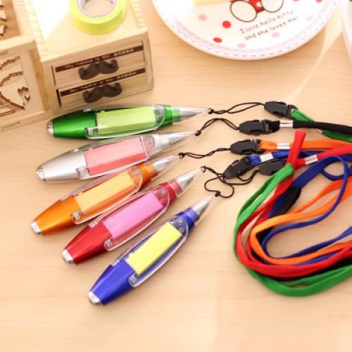 Ручка шариковая с блоком для заметок, с фонариком, на ремешке