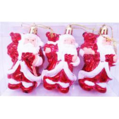 "Игрушка на ёлку пластик. ""Дед Мороз с мишкой объемная-3шт."" 8см"