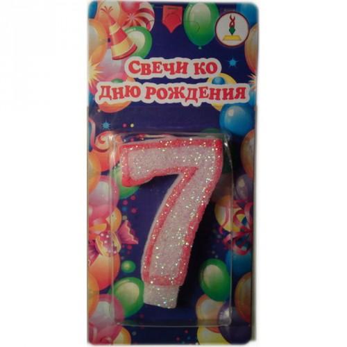 """Свеча для торта """"СЕРЕБРО красный контур"""" цифра """"7"""""""